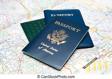 Travel planning - A shot of passports and a map
