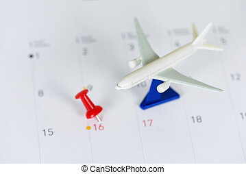 Travel planning with airplane destination points on a map red pin holiday on calendar - travel time or plan for travelling concept