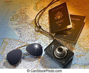 Travel plans - Two US American passports, camera and ...