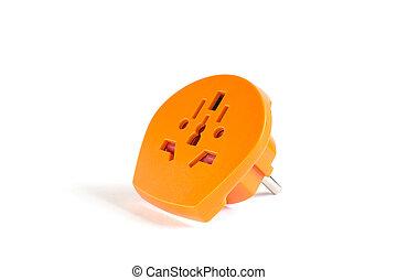 Travel plug adapter orange