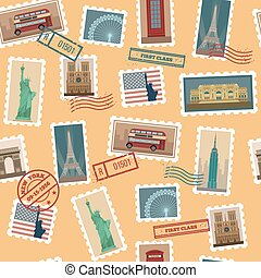 Travel Postage Stamps Seamless Pattern: USA, New York, London, Paris