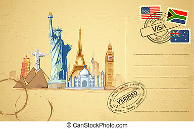 Travel Postcard - illustration of world famous monument on...