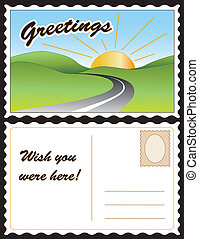 Travel postcard, road, hills, sunny day landscape. Copy space for custom greetings, address. Full size postcard, front and back, 8.5 inch by 5.5 inch. EPS8 organized in groups for easy editing.