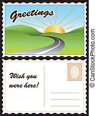 Travel Postcard - Travel postcard, road, hills, sunny day ...