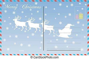 Travel postcard vector merry christmas