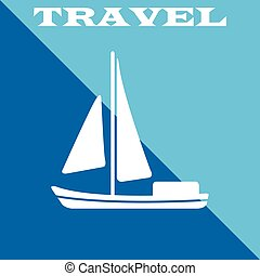 Travel poster. Boat icon. Vector illustration eps10