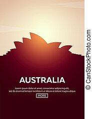 Travel poster to Australia. Landmarks silhouettes. Vector illustration.