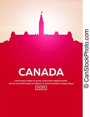 Travel poster to Canada. Landmarks silhouettes. Vector illustration.