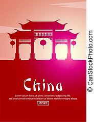 Travel poster to China. Landmarks silhouettes. Vector illustration.