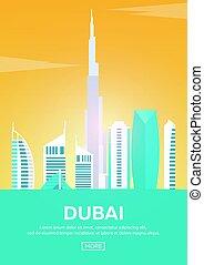 Travel poster to Dubai. Landmarks silhouettes. Vector illustration.