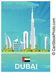 Travel poster to Dubai. Vector flat illustration.