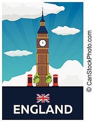Travel poster to England. Big Ban. Vector flat illustration....