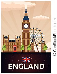 Travel poster to England. Vector flat illustration.