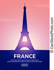 Travel poster to France. Landmarks silhouettes. Vector illustration.
