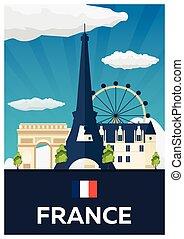 Travel poster to France. Vector flat illustration.