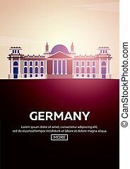 Travel poster to Germany. Landmarks silhouettes. Vector illustration.