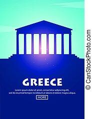 Travel poster to Greece. Landmarks silhouettes. Vector illustration.