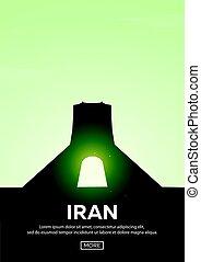 Travel poster to Iran. Landmarks silhouettes. Vector illustration.