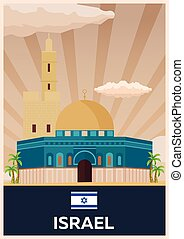 Travel poster to Israel. Vector flat illustration.