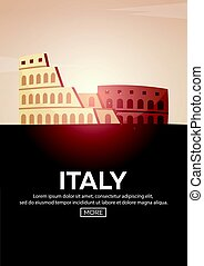 Travel poster to Italy. Landmarks silhouettes. Vector illustration.