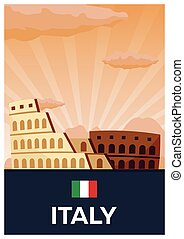 Travel poster to Italy. Vector flat illustration.