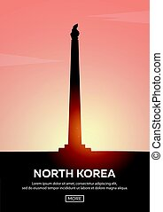Travel poster to North Korea. Landmarks silhouettes. Vector illustration.