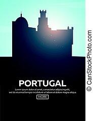 Travel poster to Portugal. Landmarks silhouettes. Vector illustration.