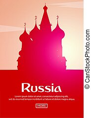 Travel poster to Russia. Landmarks silhouettes. Vector illustration.
