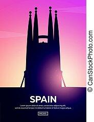 Travel poster to Spain. Landmarks silhouettes. Vector illustration.
