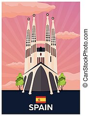Travel poster to Spain. Vector flat illustration.