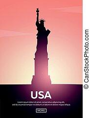 Travel poster to USA. Landmarks silhouettes. Vector illustration.