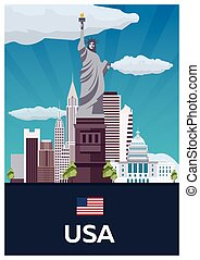 Travel poster to USA. Vector flat illustration.