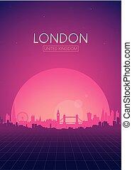 Travel poster vectors illustrations, Futuristic retro skyline London