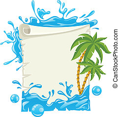 Travel poster with water splashes and palms