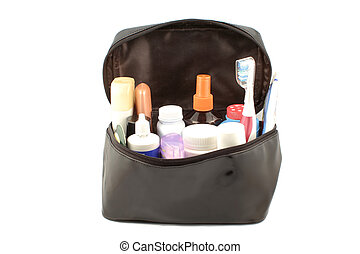 travel products - black patent travel case with different...