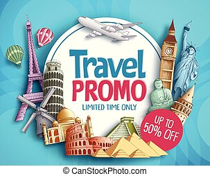 Travel promo vector banner design with world's famous tourist landmarks