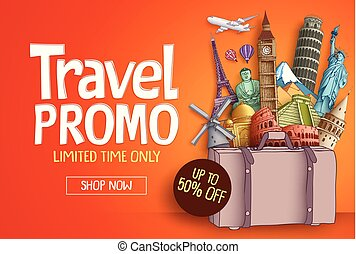 Travel promo vector banner template with world's famous tourist landmarks