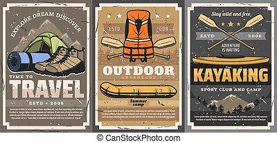 Travel, rafting, trekking and kayaking sports