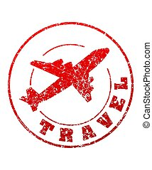 Travel red rubber stamp with airplane for your design.