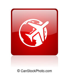 travel red square web glossy icon