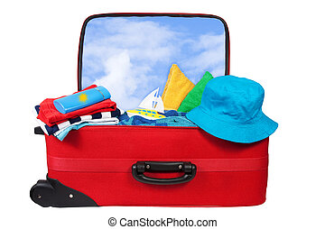 Travel red suitcase packed for vacation - Travel red ...