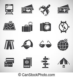 Travel related icons set on background for graphic and web design. Creative illustration concept symbol for web or mobile app.