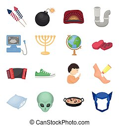 travel, rest, hygiene and other web icon in cartoon style. amlet, mask, superman icons in set collection.