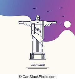 Travel RIO DE JANEIRO Poster Template. Purple creative background