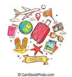 Travel Round Sketch Composition