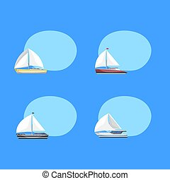 Travel sailboats labels with space for text