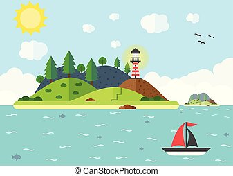 Travel scene in the sea with lighthouse, hill, tree, and sail boat. Summer time holiday voyage concept. Flat vector illustration