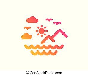 Travel sea mountains icon. Sun, clouds and waves sign. Vector