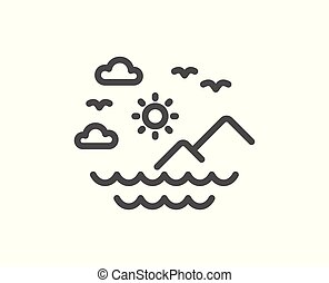 Travel sea mountains line icon. Sun, clouds and waves sign. Vector