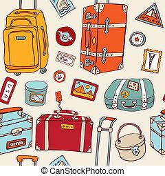 Travel seamless background. Suitcas - Travel seamless...